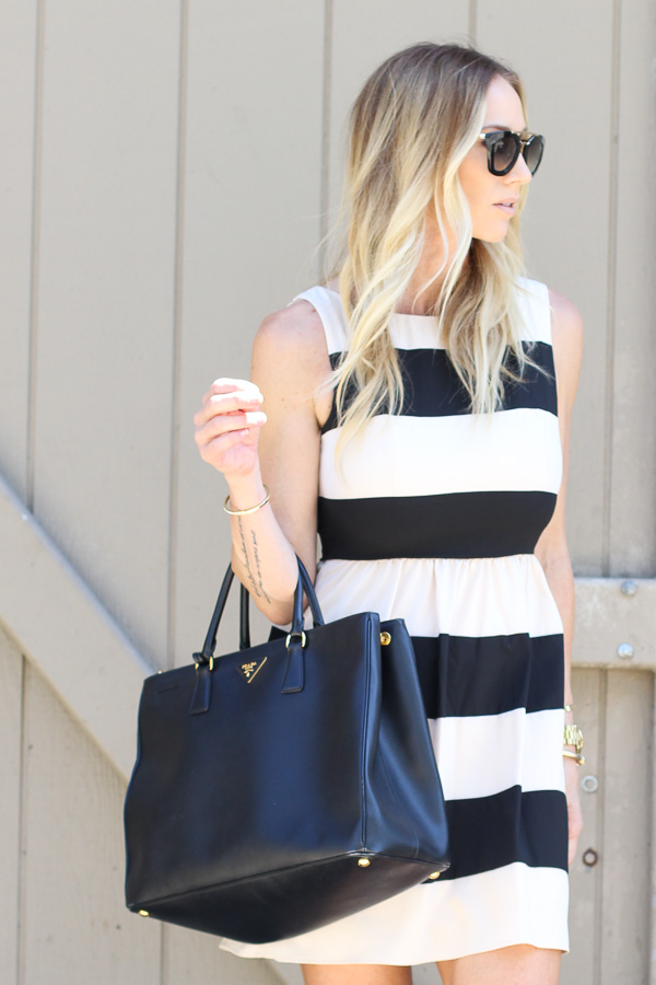 a-line dress with large stripes