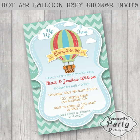 Super Cute Hot Air Balloon Baby Shower Invitation Featuring A Colorful With Clouds Blue Frame And Green Chevron Pattern Background
