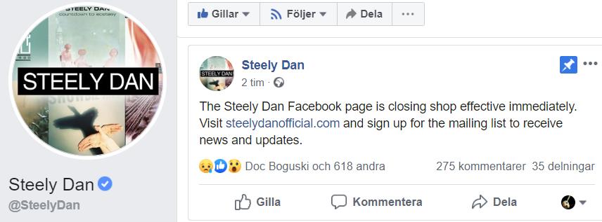 Radio Dupree: Steely Dan Facebook shutdown