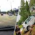 (Video) Kereta dipandu laju sebelum rempuh motosikal dan langgar tembok