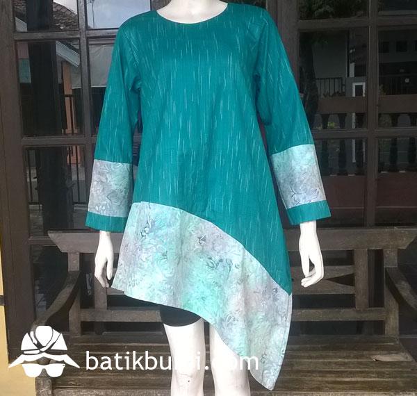 Tunik Asimetri Tenun Gerimis mix Batik Cap