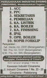 Lowongan Kerja Kawasan Industri Cimareme Bandung 2020