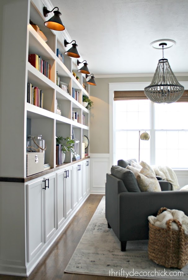 DIY bookcases with accent lighting