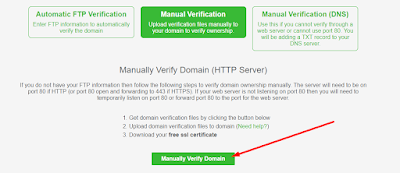 Click Manually Verify Domain