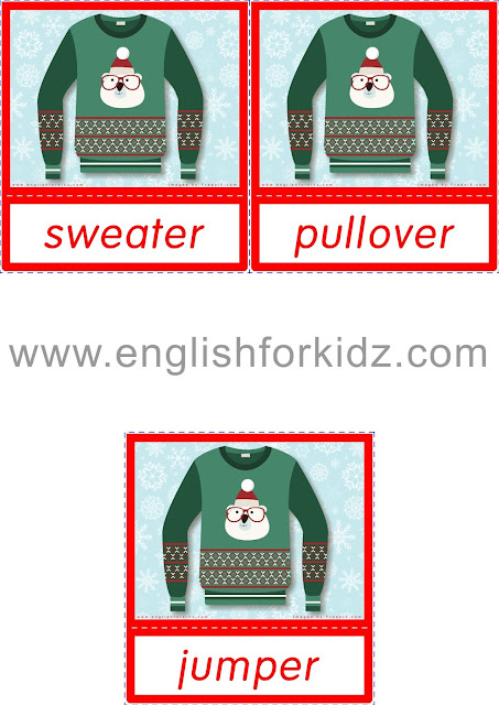 Sweater, pullover, jumper - printable Christmas and winter clothes flashcards