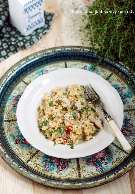 risotto, schab, ryz, obiad, wlochy, bernika, kulinarny pamietnik