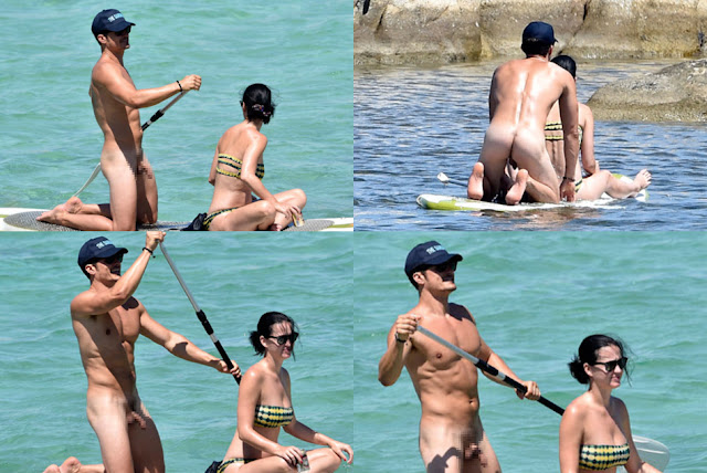 UNCENSORED: Orlando Bloom Paddles Naked In Italy Beach.