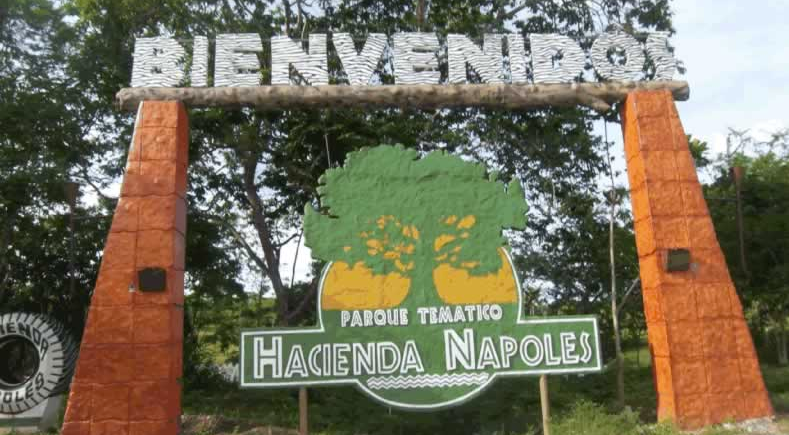 The entrance to Hacienda Napoles - former home of Pablo Escobar