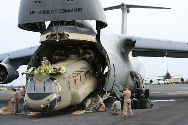 Lockheed C-5 Galaxy Unloading Helicopter CH-47 Chinook