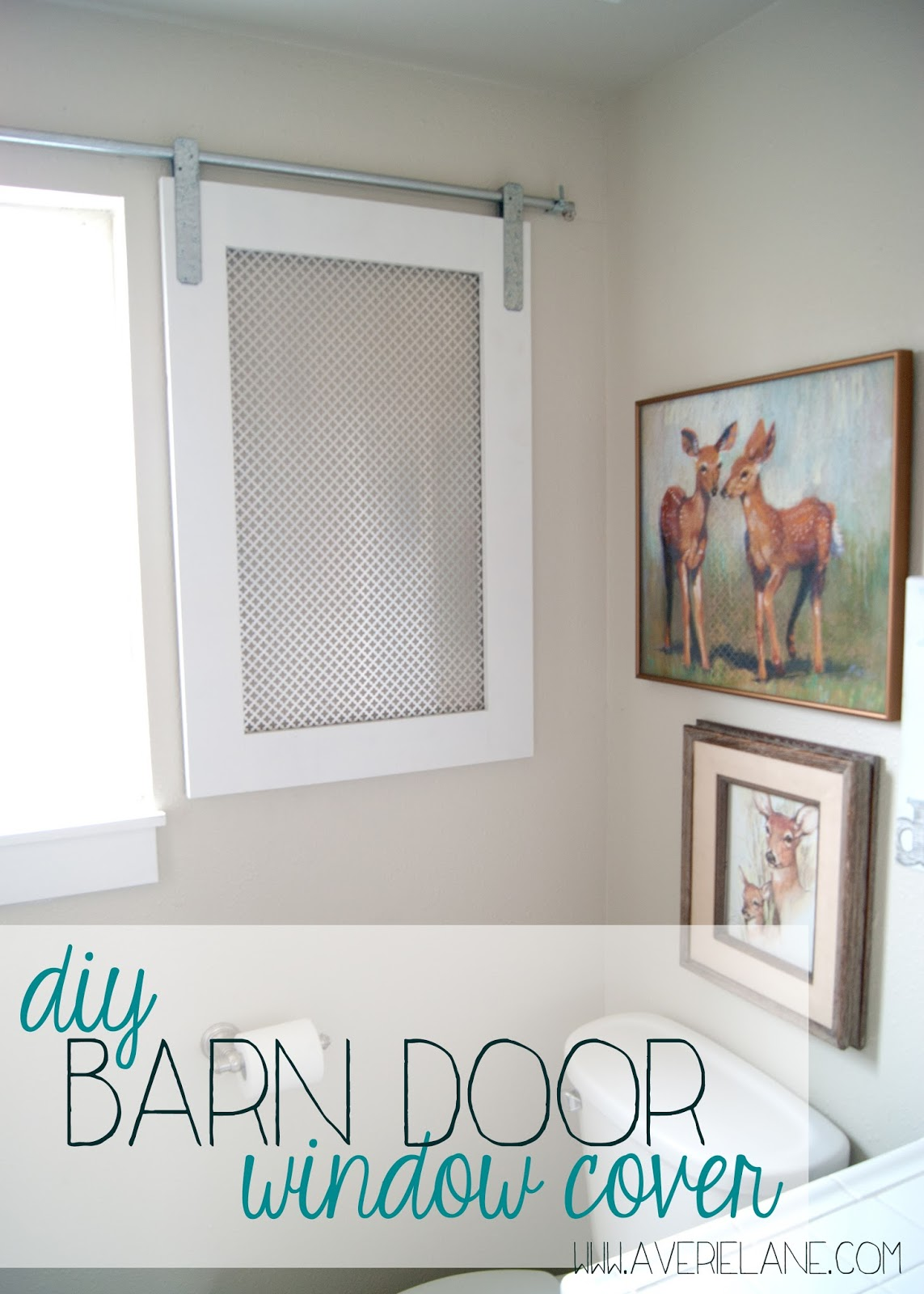 finished room over garage ideas - Project Kid s Bathroom DIY Barn Door Window Cover for the