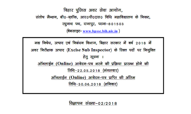 Bihar Police Excise SI Recruitment 2018 Download official Notification