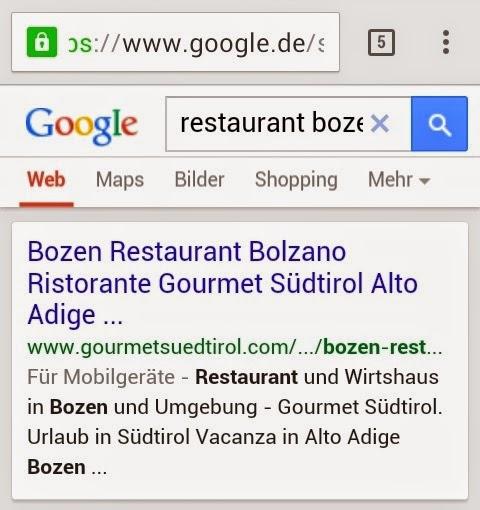 Mobiles Google Suchergebnis