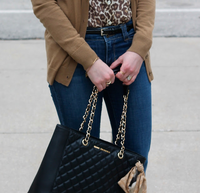 leopard button up, tan boyfriend cardigan, flare jeans, black heels, Greg Michaels tote, casual outfit flare jeans