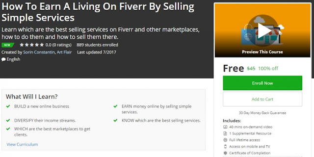 [100% Off] How To Earn A Living On Fiverr By Selling Simple Services | Worth 45$