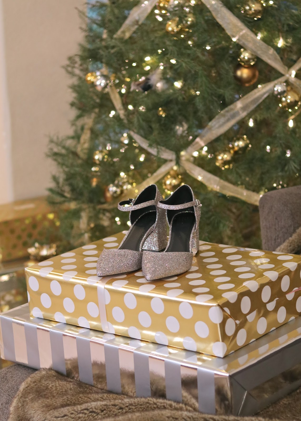 Silver Sparkly Shoes, Elegant Christmas Wrapping, silver and gold holiday theme