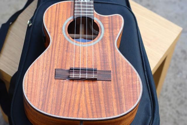 Kala All Solid Acacia Tenor ukulele body