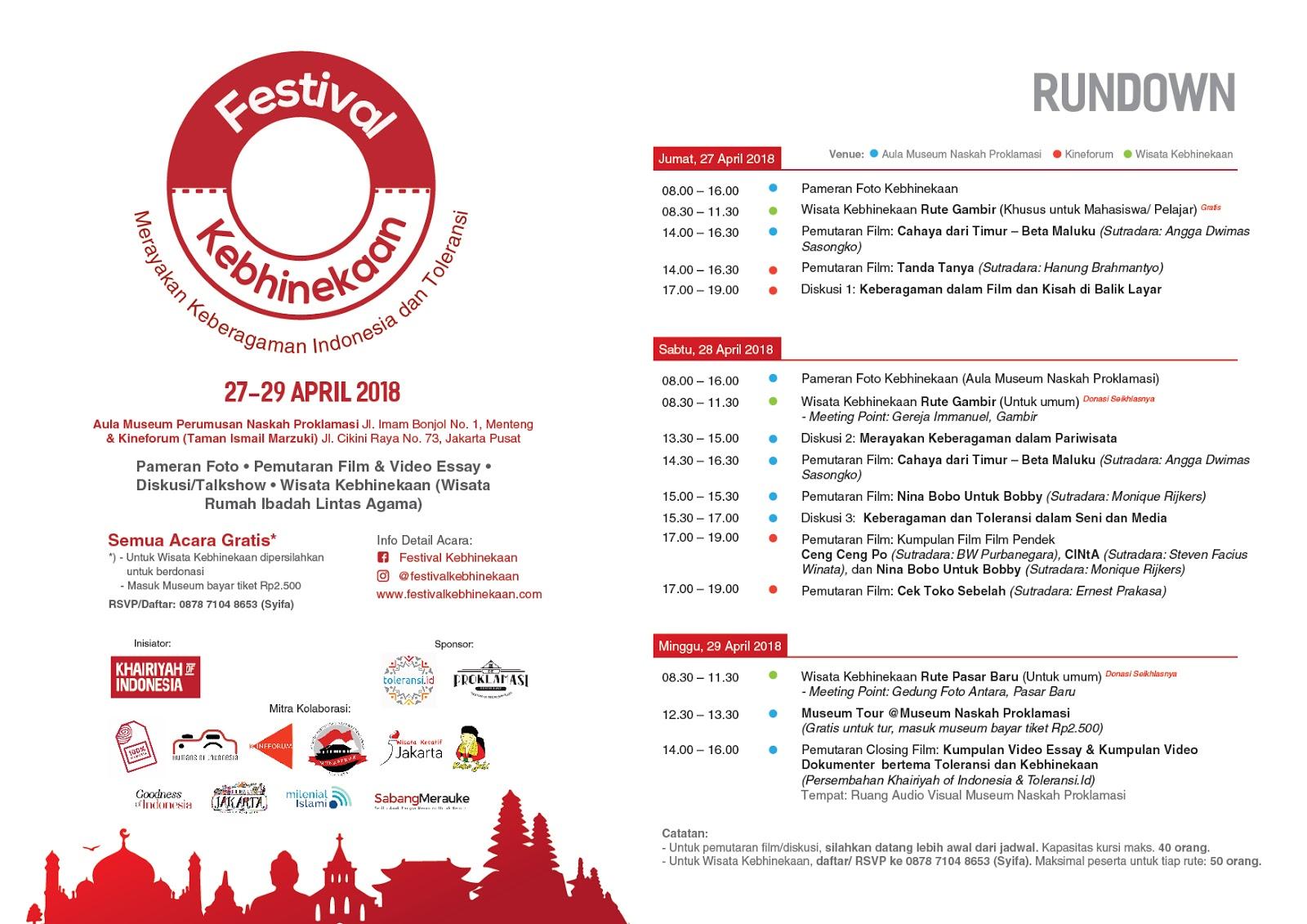 Jadwal Lengkap Festival Kebhinekaan