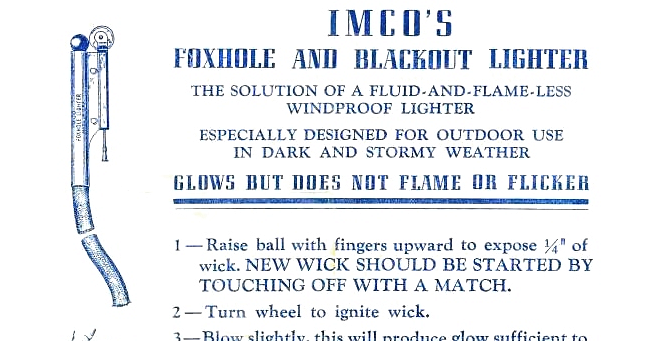 Table lighters collectors' guide: FAQ: IMCO Foxhole