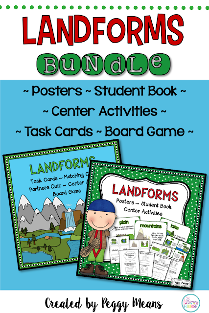 This Landforms bundle is packed with posters, interactive student book, center activities, task cards, board game and more!
