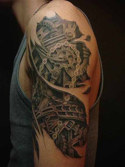 Amazing Shoulder Steampunk Tattoos For Men