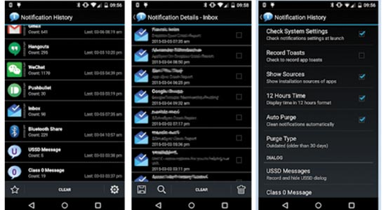 Notification History view