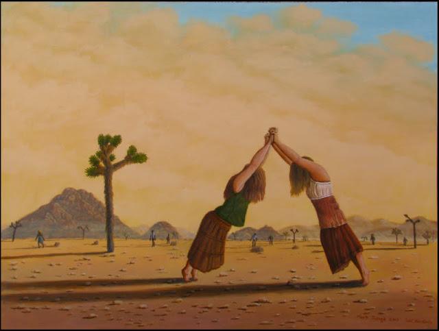 art,painting,surreal,surrealistic,surrealism,Mojave,desert,Joshua Tree National Park,yellow,figures,London Bridge,dream,dreamscape,hands,interlock,interlace,clasp,hands