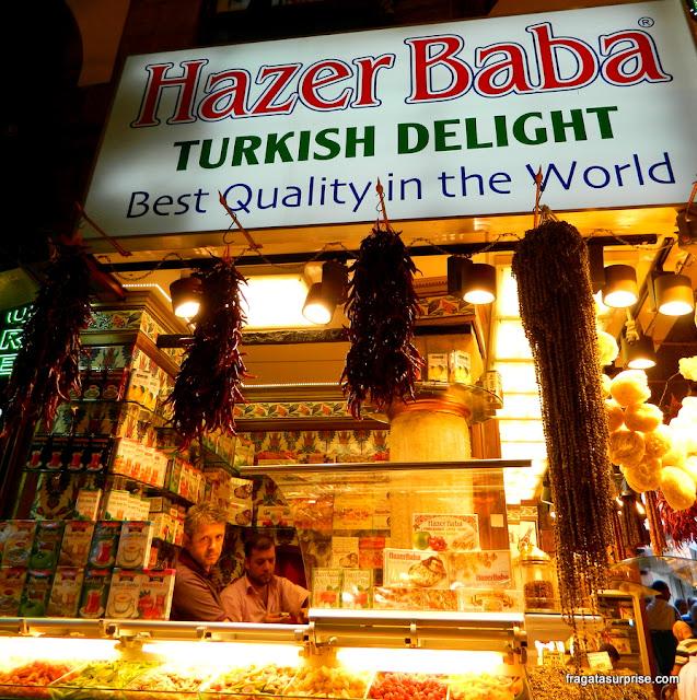 Barraca de turkish delight no Bazar Egípcio de Istambul