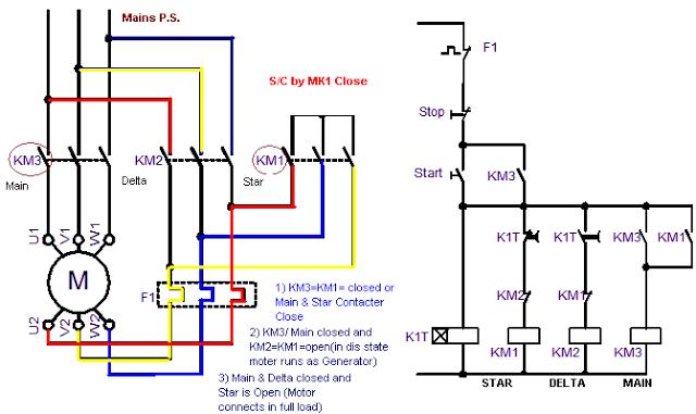 Star Delta Starter Control Circuit Diagram Motor