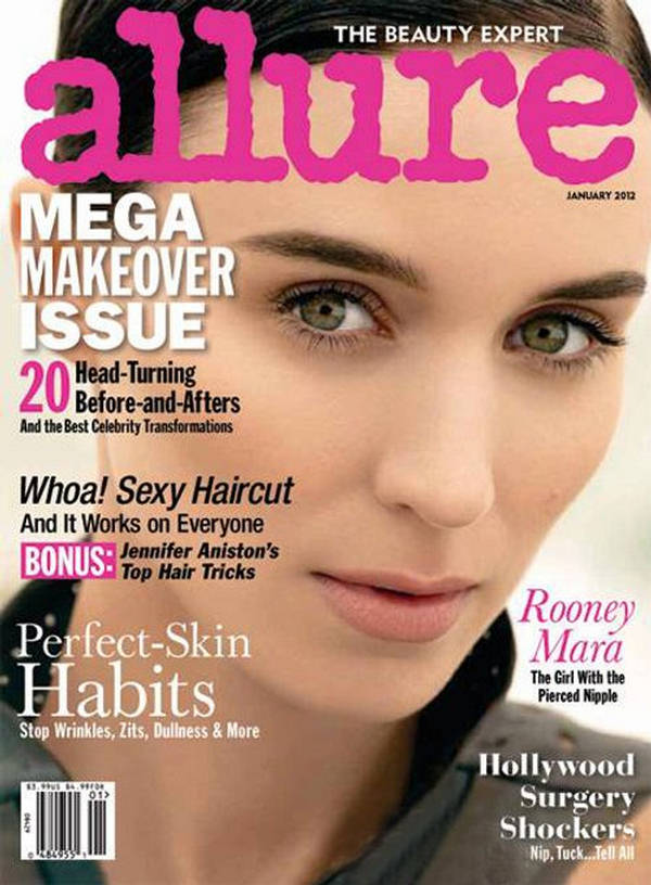 Rooney Mara is beautiful and natural on the cover of Allure, January 2012