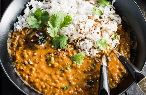 Creamy Coconut Lentil Curry #Vegetarian #Lentilcurry