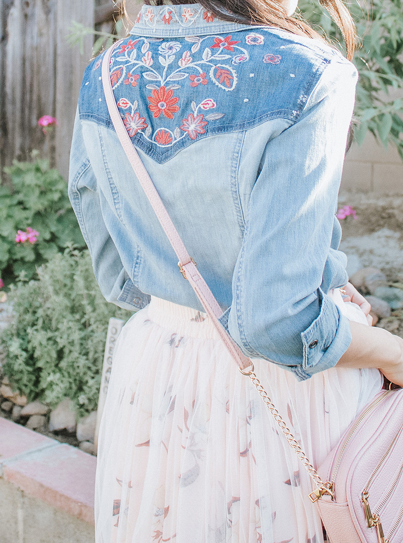 close up of back of embroidered chambray shirt