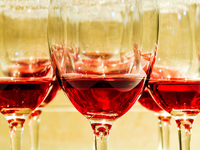 Beaujolais Nouveau glasses with wine