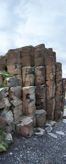 Panoramic image of towering basalt columns, Giant's Causeway, Northern Ireland