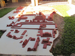 Model of Copan from the air in its characteristic red color coat, during around 822 AD