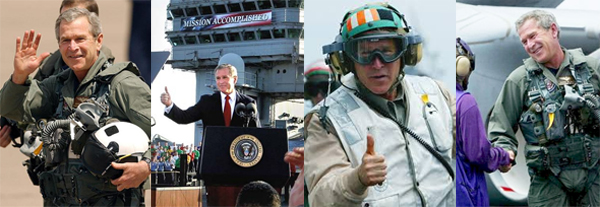 series of images of George W. Bush smiling in inappropriate military situations