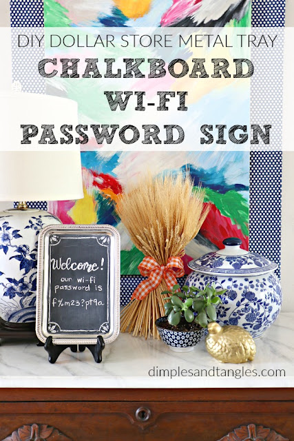 dollar store crafts, dollar tree, diy chalkboard, wifi password sign, chalkboard craft