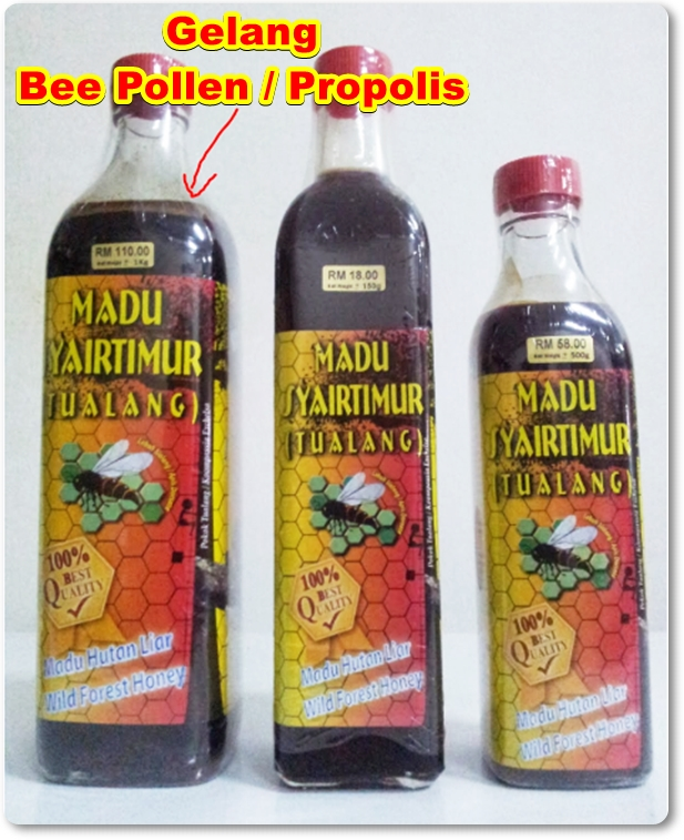 gelang propolis/bee pollen di botol madu tualang asli syairtimur