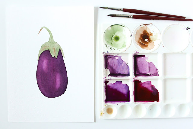 watercolor, watercolor food, watercolor garden, eggplant, watercolor eggplant, 30 Paintings 30 Days, Anne Butera, My Giant Strawberry