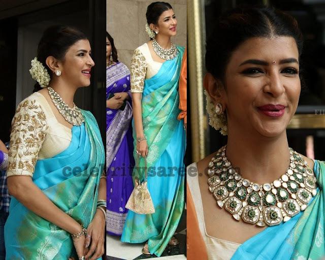 Lakshmi Manchu Turquoise Blue Saree