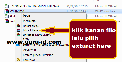 Cara install file MSVBVM50.CAB
