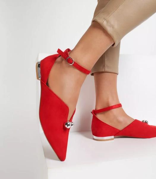 Pantofi dama casual-eleganti rosii din piele intoarsa eco