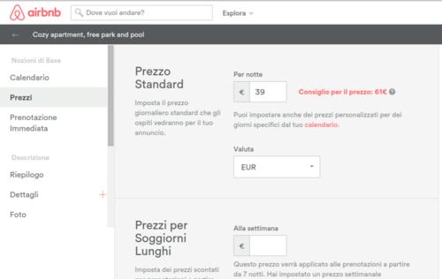 pagina imposta prezzi airbnb