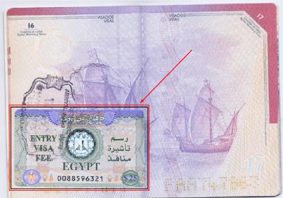 pegatina del visado a Egipto www.bidtravel.es