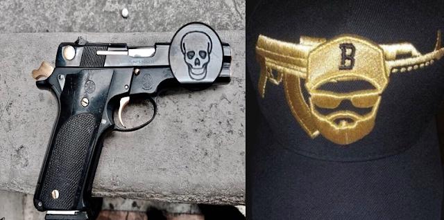 """Fotografías: Así son las gorras y pistolas de El Betito de La U con armas """"tatuadas"""" con cráneos y """"baños de oro"""" como si fueran Los Antrax"""