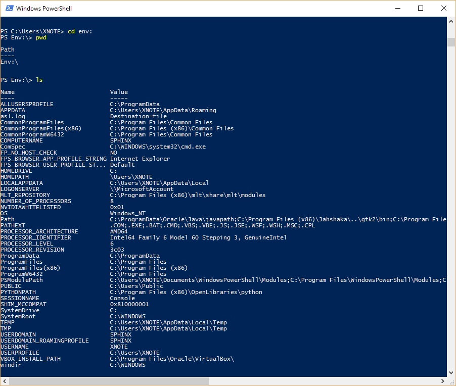 Windows PowerShell - Zmienne Środowiskowe Windows