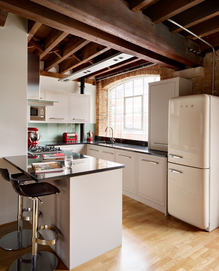 beautiful kitchen with smeg and beams
