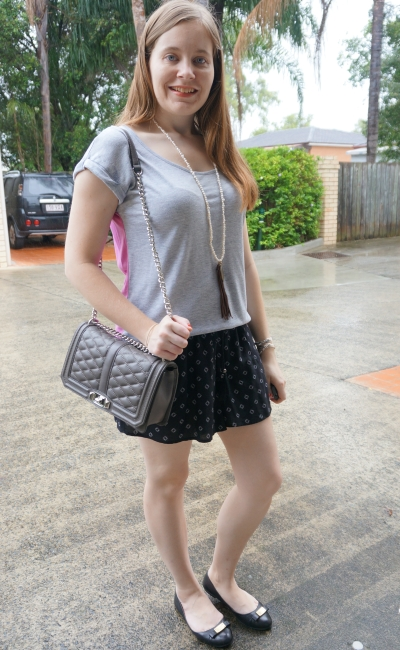 grey tee with ballet flats and Jeanswest parker printed soft shorts summer | away from blue