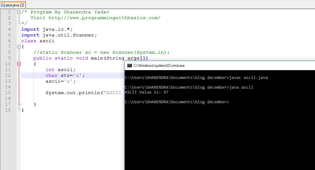 Java Program To Print Ascii Value Of Character