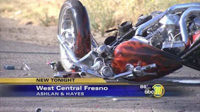 fresno motorcycle truck accident ashlan hayes avenues critical injuries