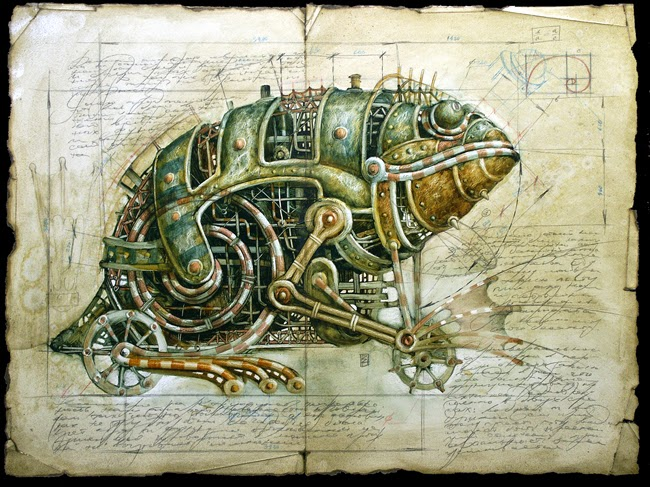 16-Vladimir-Gvozdev-Surreal-Steampunk-Animal-Drawings-www-designstack-co